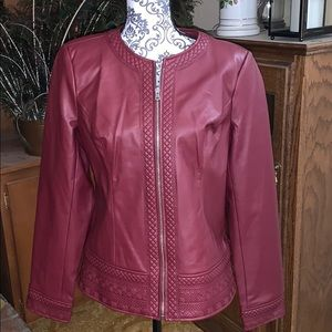 NWOT D and company quilted faux leather jacket